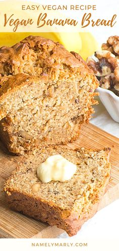 There's a healthier (and tastier) way to enjoy the usual banana bread that we used to love! This vegan Banana Bread has all the goodness that you need. It has applesauce and walnuts and does not contain dairy or eggs. It's the best vegan banana bread ever!  #namelymarly #veganbananabread #bananabread #veganbread Banana Recipes Clean Eating, Healthy Banana Recipes, Best Vegan Desserts, Banana Dessert Recipes, Sweets Recipes, Vegan Recipes Easy, Best Vegan Banana Bread Recipe, Ripe Banana Recipe, Vegan Sandwich Recipes