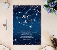 Starry night wedding invitations printed Heart by OnlybyInvite