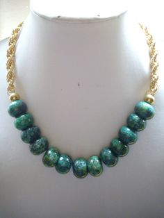 Chunky Chrysocolla Turquoise Green Navy Blue by DesignsbyPattiLynn, $50.00