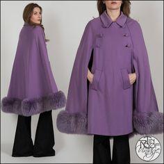 vintage 60s Lilac Wool GENUINE SHEARLING Fur mod Cape coat jacket pastel purple