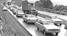Noontime Traffic Jam on the Schuylkill Expressway Ford Classic Cars, Classic Chevy Trucks, Nostalgic Pictures, Classy Cars, Vintage Trucks, Old Cars, Car Pictures, Antique Cars, Automobile