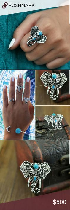 SALE TODAY - Vintage Elephant Knuckle Ring Silver Turquoise Vintage Elephant Knuckle Ring for Women. Wonderful gift for you and your friends.  🌹NWT- Brand new in package 🌹Highest Quality Products 🌹Same Day Shipping  🚫Closet Rules Posted Please Follow 🚫No Rude Comments on my listing about price or my customers! 🚫If your question isn't about the listing do not comment.  Inner diameter: 1.8cm Material: alloy  Package included: 1pc x Ring ONLY Not Brand Listed Urban Outfitters Jewelry