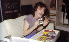 Angus - AC/DC - backstage on Back In Black Tour, Playing a board game 1980-81