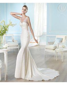 Sirena Coda a Strascico Corto Look luminoso e scintillante Abiti da Sposa Design