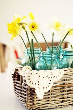 Cottage Industry -   Daffodil flower arrangement  mason jars, basket, vintage, cottage, country