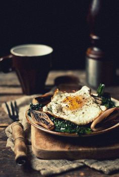 Sautéed Purple Kale with Charred Shallots & Fried Egg | 6 Creamed Spinach Alternatives For Thanksgiving