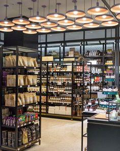 Store shelving, custom shelving, supermarket shelves, supermarket design, f Retail Store Design, Retail Shop, Retail Displays, Shop Displays, Window Displays, Small Store Design, Food Retail, Design Furniture, Plywood Furniture