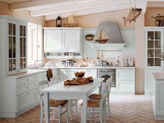 Powdery blue/green kitchen with pinkish/beige walls and chevron-set plank tile (or white oak? Old Kitchen, Wooden Kitchen, Kitchen And Bath, Budget Kitchen Remodel, Kitchen On A Budget, Kitchen Remodeling, Kitchen Flooring, Kitchen Cabinets, Blue Green Kitchen