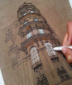 🌕 Gorgeous architecture sketches ✨ to see more 👉 😁 Can you guess these places? Architecture Sketchbook, Arte Sketchbook, Architecture Art, Sketchbook Ideas, Toned Paper, A Level Art, Urban Sketching, Art Sketches, Sketches Of Buildings