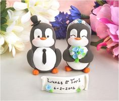 Personalized Penguins cake toppers - blue white by PassionArte, via Flickr