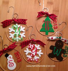 Personalized Christmas Ornament  3 inch  Acrylic by NerdyNoodle, $12.00