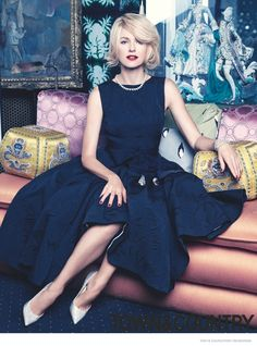 Naomi Watts in Rochas dress for Town & Country Magazine September 2014. [in the Beverly Hills home of Tony Duquette]