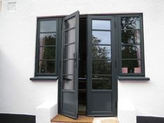 Crittall aluminium? http://www.youchoosewindows.co.uk/products-services/doors/aluminium-crittall-replacement-doors-1