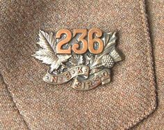 British; 236th Battalion Fredericton New Brunswick Officer's Collar Badges. WW I. A Scottish regiment commonly known as the New Brunswick Kilties.