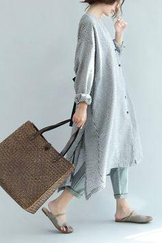 Spring Linen Plaid Casual Loose Long Shirt Dress For Women S3405 | FantasyLinen