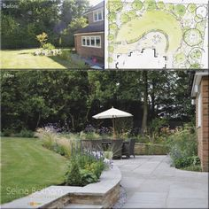 A beautiful transformation of this north facing garden.  A curved stone wall provides a secluded   sunny dining area with improved access to other parts of the garden.