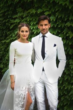 Olivia Palermo wore a cream cashmere jumper, white shorts and tulle skirt for her wedding dress look #celebrity #wedding #dress