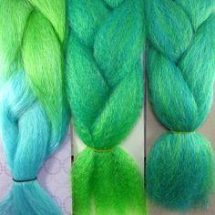 Kanekalon color comparison from left to right: Seafoam Ombre, Tropic Ombre, Light Petrol Green