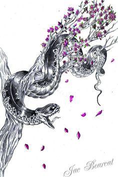 Snake on branch tattoo.