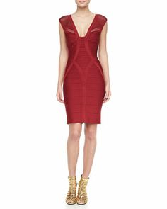 V-Neck Cutout Bandage Dress by Herve Leger at Neiman Marcus.