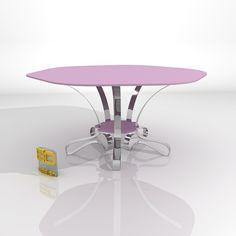 Julio 2013. Mesa YOGHURT Pink. Diseñada por Ernesto Oñate. Krion y acero. Color según disponibilidad de krion. Tfno: 603774475.