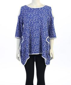 Blue & White Filigree Cutout Sidetail Tunic - Plus by Seven Karat #zulily #zulilyfinds
