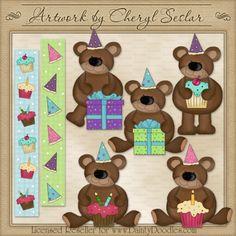 Silly Birthday Bears 1 - Cheryl Seslar Country Clip Art