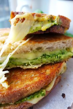 Pesto Grilled Cheese sammich.  Yum!  Recipe calls for you to make homemade pesto, but I go with jarred.