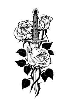 Skull Rose Tattoos, Rose Tattoos For Men, Blue Rose Tattoos, Tattoos For Guys, Tattoos For Women, Girl Leg Tattoos, Leg Tattoo Men, Sleeve Tattoos, Elbow Tattoos