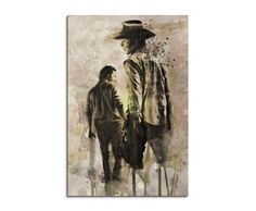 The Walking Dead 90x60cm Wandbild Aquarell Kunstbild Malerei Leinwandbild Fotoleinwand von Paul Sinus Art