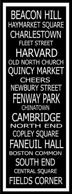 beacon hill haymarket square charlestown fleet street harvard old north church quincy market fenway park cambridge north end copley square faneuil hall chinatown south boston