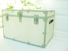Refinish the Vintage Wood Trunk kind of like this? (Maybe not necessarily these colors, but similar!