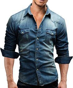 Merish chemise pour homme coupe slim en jeans denim 70 € Chemise Jean Homme,  Magasin cdc3e0eb8d4b