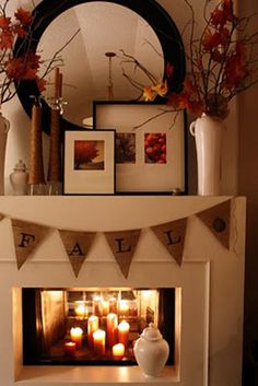 Fall Mantel Decor totally want to do the candle thing inside til winter approaches..well a good cold front haha
