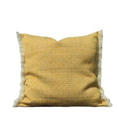 SOHIL I Casual outdoor pillow made with a loosly woven fabric with fringed border_ available from our online store www.sohildesign.com