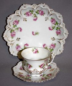 Altrohlau Austrian 3pc Cup Saucer Plate Hutschenreuther Roses 19th C