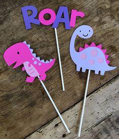 Dinosaur Birthday Cake Toppers/Girl/Pink/Purple