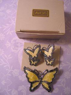 1990 Avon Whispering Wings Butterfly Earrings & Brooch Enamel & Marcasite #Avon