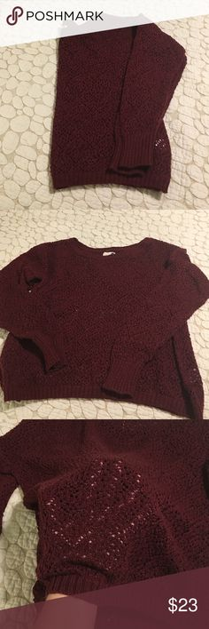 La hearts sweater Burgundy knit sweater by LA hearts from pacsun. 55% cotton and 45% acrylic. No pulls. Worn maybe twice. Not cropped but on the shorter side of regular length. LA Hearts Sweaters Crew & Scoop Necks