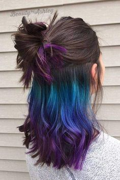 Hair Color Ideas for Brunette Curly Rose Gold 69 Ideas, # Brunette # for C… – unterhellt Haare Hair Color Purple, Hair Dye Colors, Cool Hair Color, Purple Ombre, Hair Color For Black Hair, Peekaboo Hair Colors, Creative Hair Color, Vivid Hair Color, Ombre Color