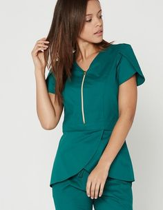Jaanuu Tulip Top scrubs in Hunter Green.