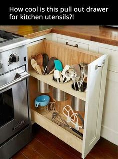 Pull out drawer for kitchen utensils