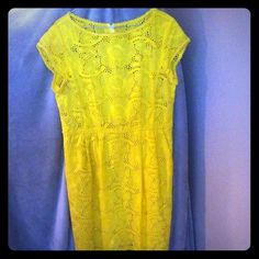 """SALE  Nanette Lepore """"Vamos"""" dress Beautiful eyelet dress in great condition color yellow. 100% cotton dress has pockets Nanette Lepore Dresses"""