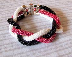 SALE  Beadwork  3 Strand Bead Crochet Bracelet  white  by lutita, $30.00