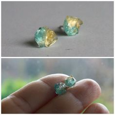 Blue Stud earrings studs raw crystal jewelry by CraftsGardenOfZen #chistmas #gift #gold #blue #earrings #studs #forher #christmasgift