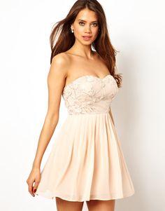 $23, Beige Floral Skater Dress: Elise Ryan Bandeau Skater Dress In Rose Applique. Sold by Asos. Click for more info: http://lookastic.com/women/shop_items/134416/redirect