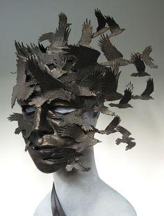 Ravens in dark flight. Corvus Flight by TheArtOfTheMask on Etsy Raven Mask, Arte Fashion, Mode Steampunk, Cool Masks, Big Face, Venetian Masks, Masks Art, 3d Prints, Sculpture Clay