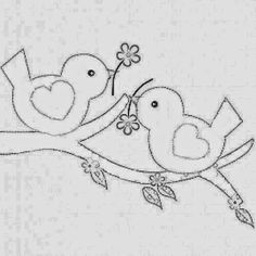 Ideas Embroidery Art Bird For 2019 Bird Embroidery, Hand Embroidery Patterns, Applique Patterns, Applique Quilts, Applique Designs, Embroidery Stitches, Machine Embroidery, Quilting Designs, Coloring Books