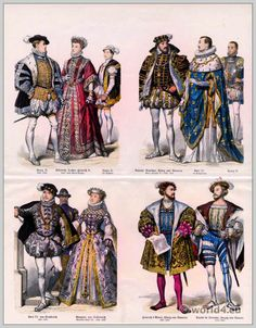 French nobility fashion 16th Century. Renaissance costumes. Medieval clothing. Middle ages court dresses.