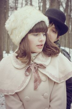 cape, capelet, couple, cream, fashion, forest, fur, hat, lolita, pale, pastel, snow, winter
